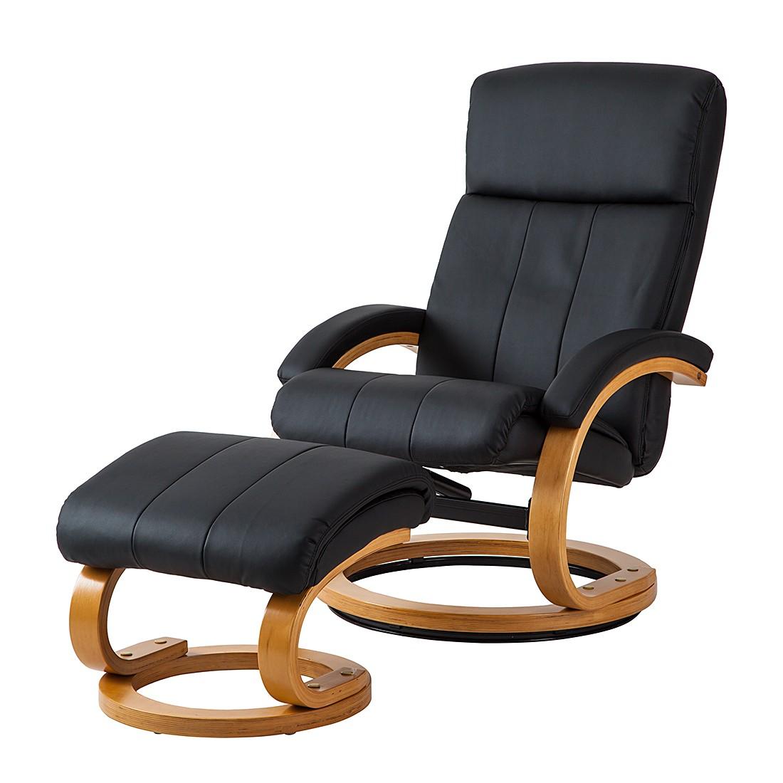 goedkoop Relaxfauteuil Vancouver met hocker zwart kunstleer Nuovoform