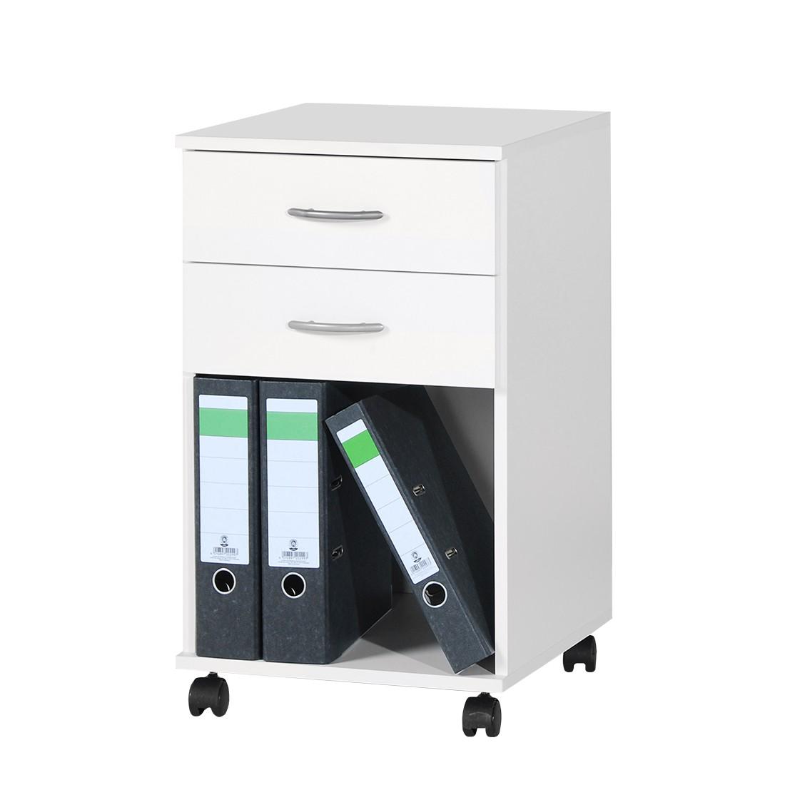 Cassettiera da ufficio con ruote Mark - Bianco perla, home24 office