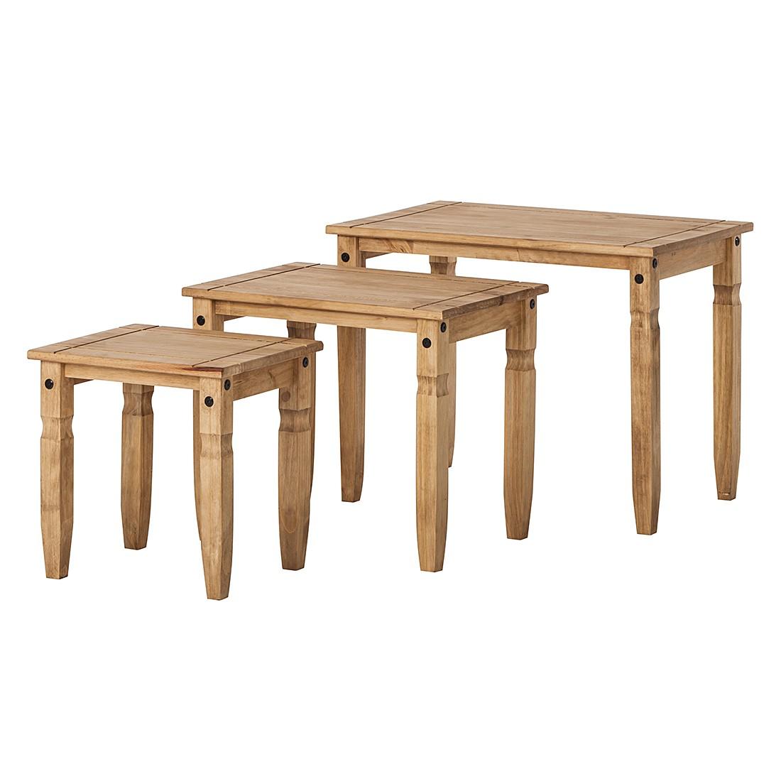 Set di tavolini Finca Rustica (3 pezzi) - Legno massello pino Cerato, Maison Belfort