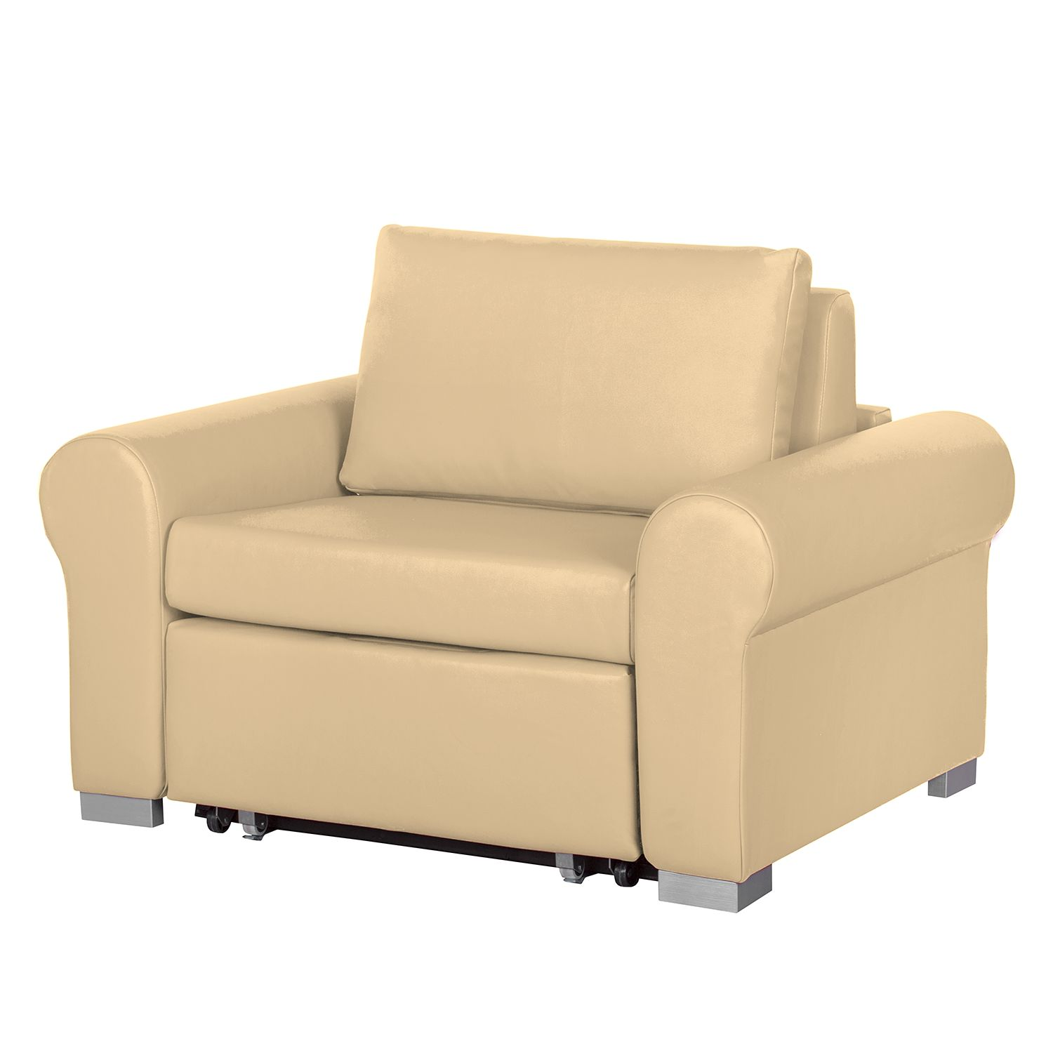 Fauteuil convertible Latina II - Imitation cuir - Beige, mooved