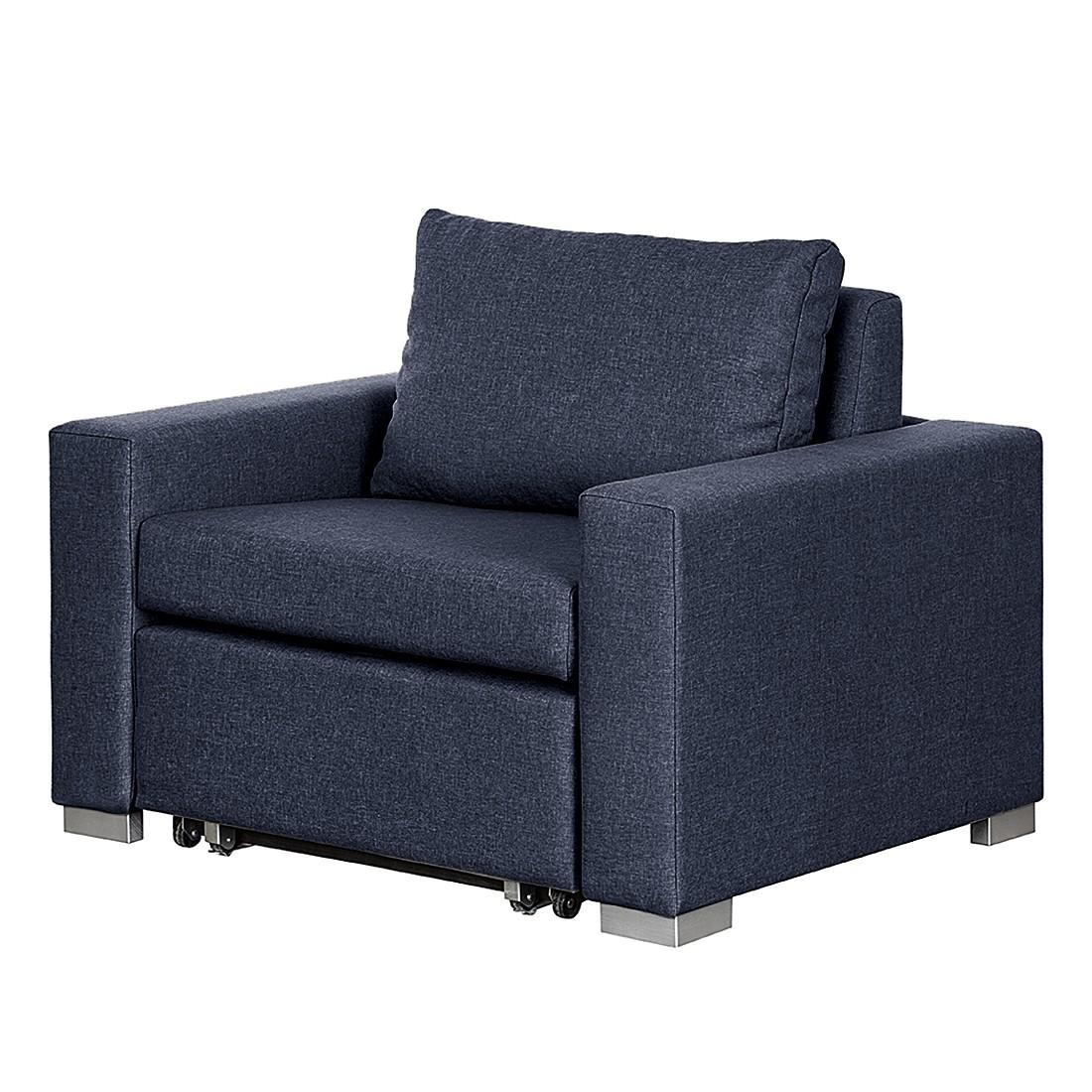 home24 mooved Schlafsessel Latina IV Blau Webstoff mit Schlaffunktion/Bettkasten 110x90x90 cm (BxHxT)