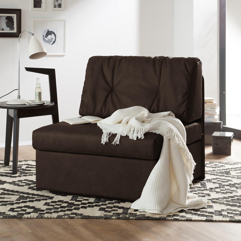home24 loftscape Schlafsessel Morondo Mokka Kunstleder mit Schlaffunktion/Bettkasten 84x82x87 cm (BxHxT)