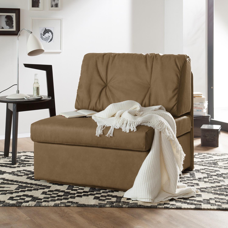home24 loftscape Schlafsessel Morondo Tabakbraun Kunstleder mit Schlaffunktion/Bettkasten 84x82x87 cm (BxHxT)