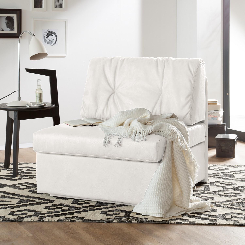 home24 loftscape Schlafsessel Morondo Weiß Kunstleder mit Schlaffunktion/Bettkasten 84x82x87 cm (BxHxT)