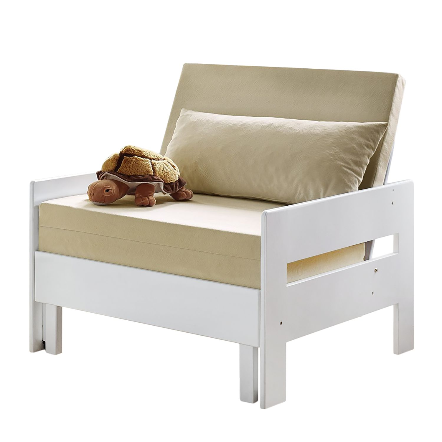 Schlafsessel Noel - Baumwollstoff - Buche Weiß lackiert, Relita