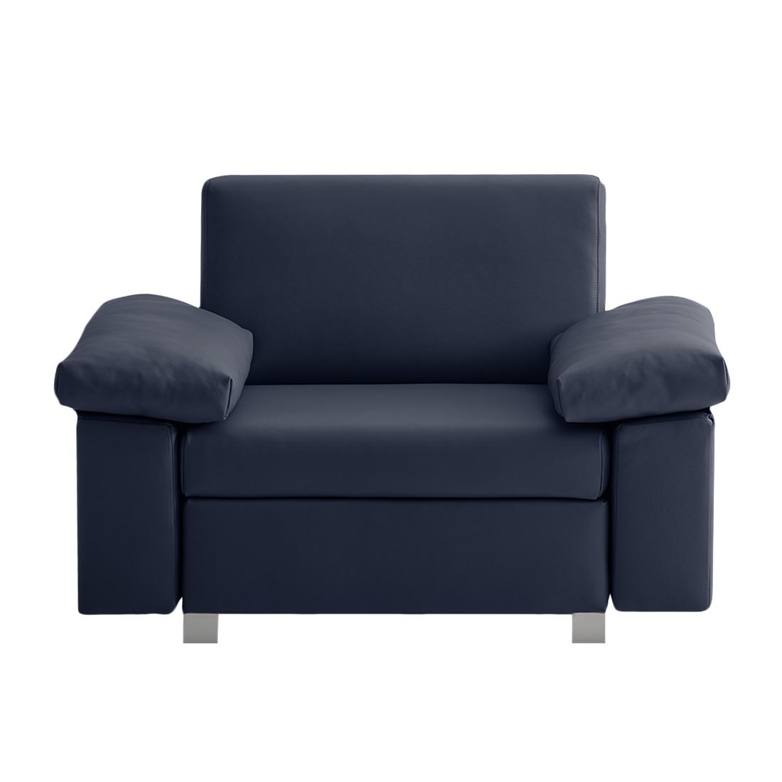 goedkoop Slaapfauteuil Plaza echt leer Donkerblauw Opklapbare armleuningen chillout by Franz Fertig