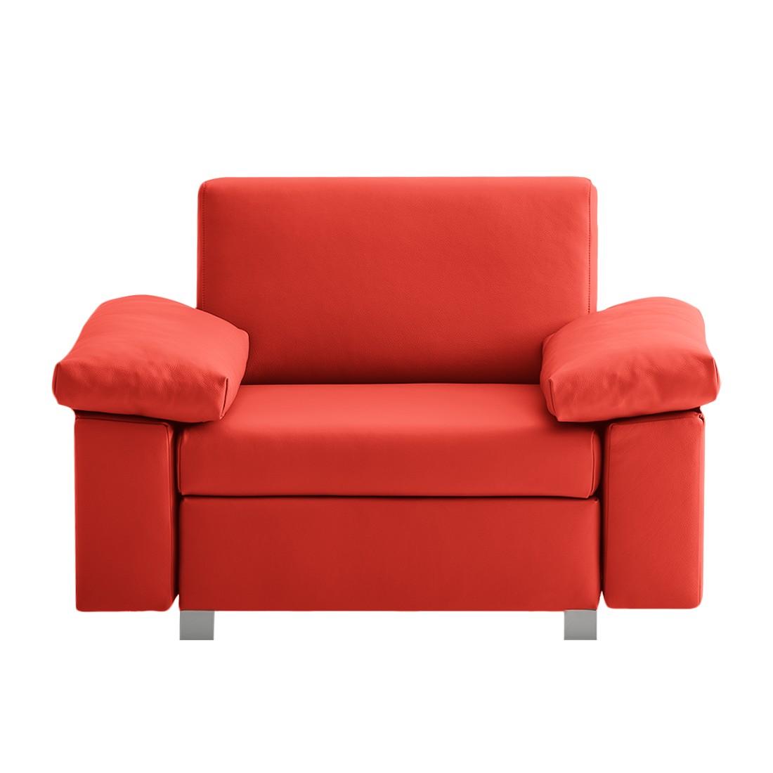 goedkoop Slaapfauteuil Plaza echt leer Rood Opklapbare armleuningen chillout by Franz Fertig