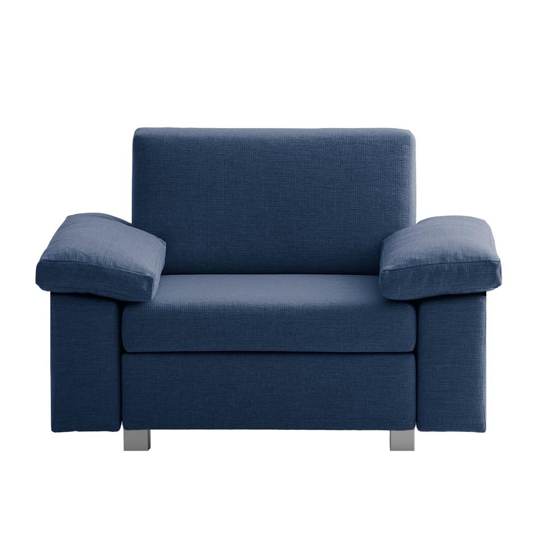 goedkoop Slaapfauteuil Plaza geweven stof Blauw Opklapbare armleuningen chillout by Franz Fertig