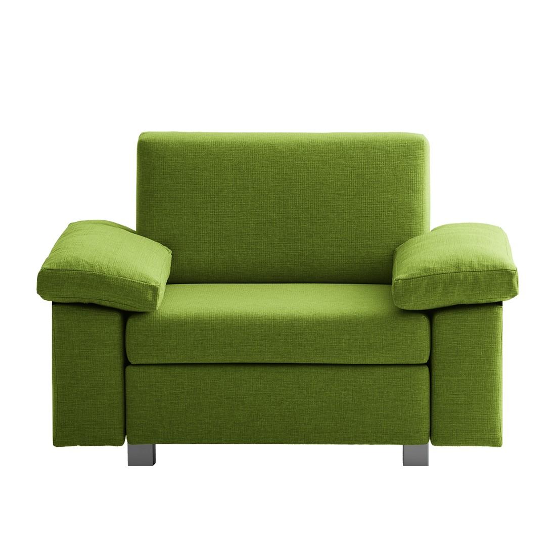 goedkoop Slaapfauteuil Plaza geweven stof Groen Opklapbare armleuningen chillout by Franz Fertig