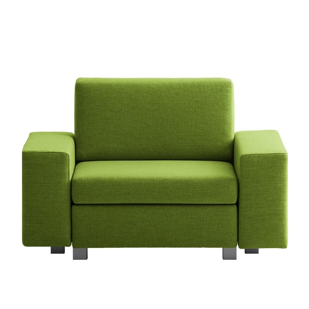 goedkoop Slaapfauteuil Plaza geweven stof Groen Rechte armleuningen chillout by Franz Fertig