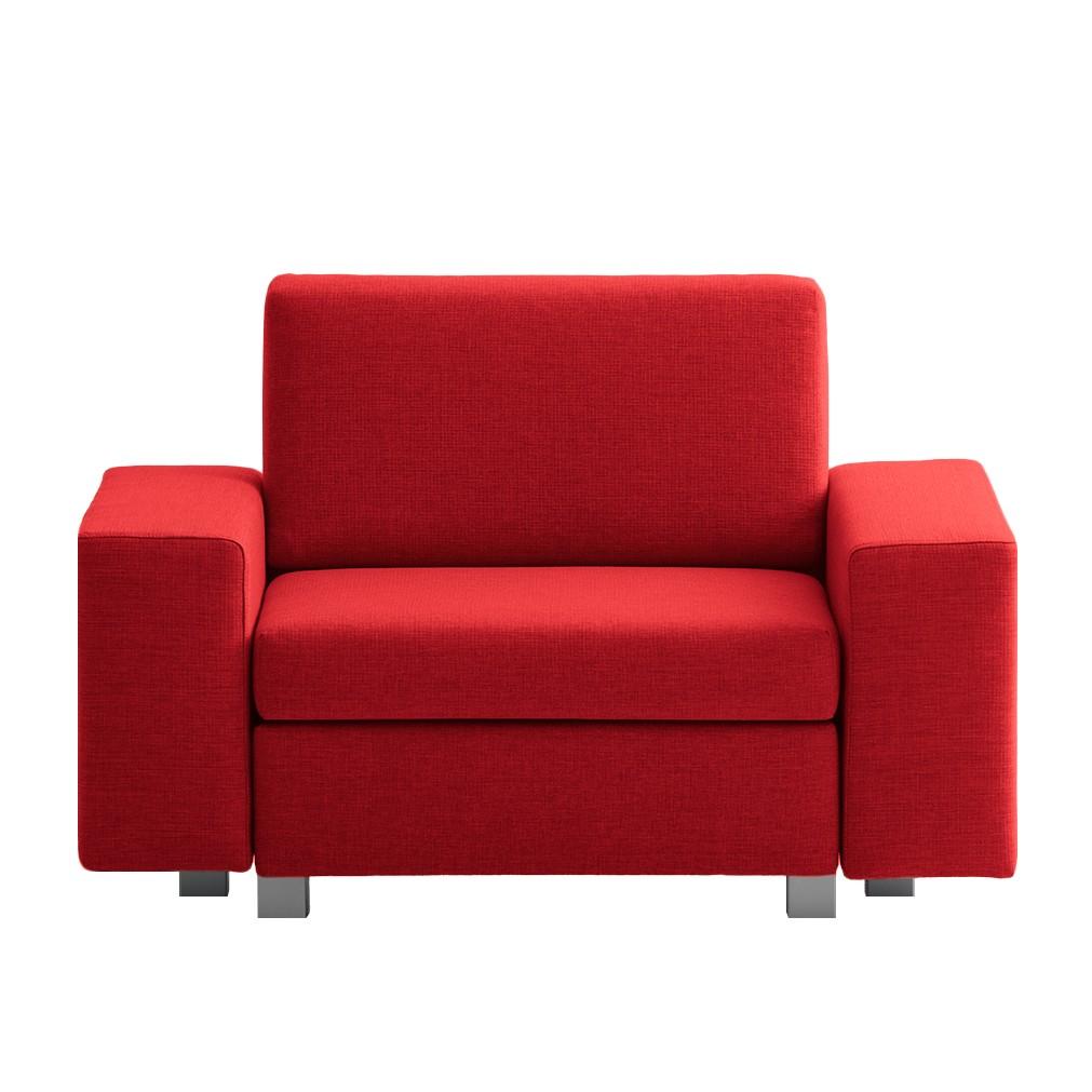 goedkoop Slaapfauteuil Plaza geweven stof Rood Rechte armleuningen chillout by Franz Fertig