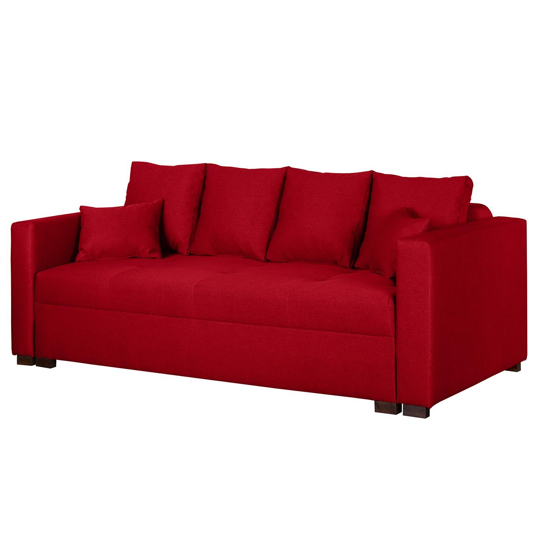 home24 Fredriks Schlafsofa Bela Cruz Rot Strukturstoff 236x82x105 cm mit Schlaffunktion