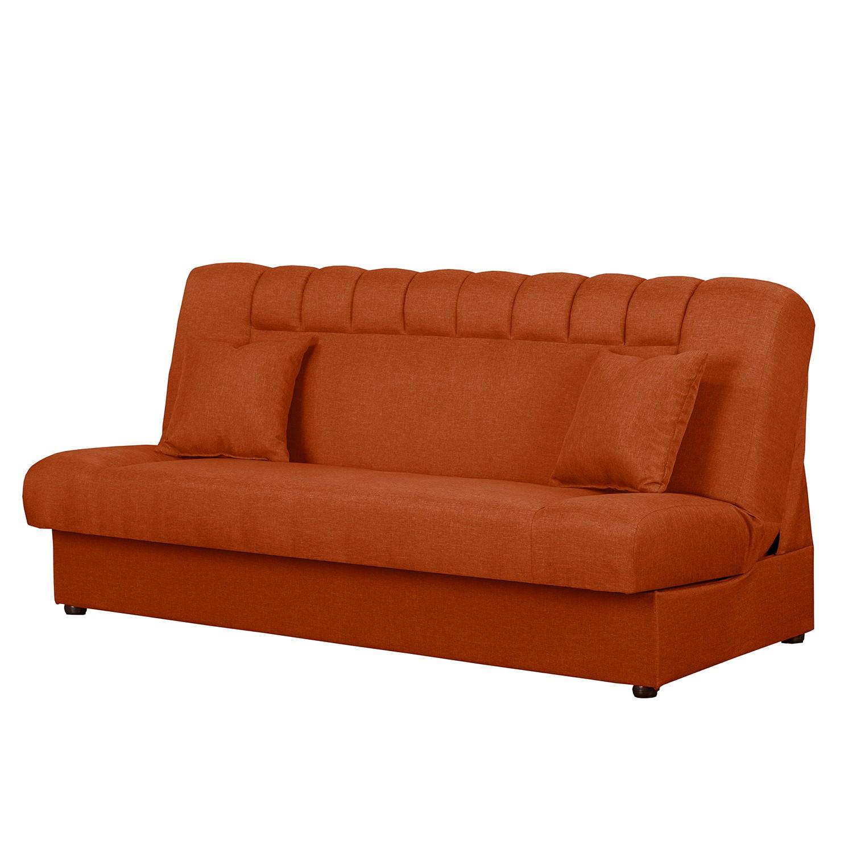 home24 Modoform Schlafsofa Benbrook Orange Webstoff 195x92x100 cm mit Schlaffunktion und Bettkasten