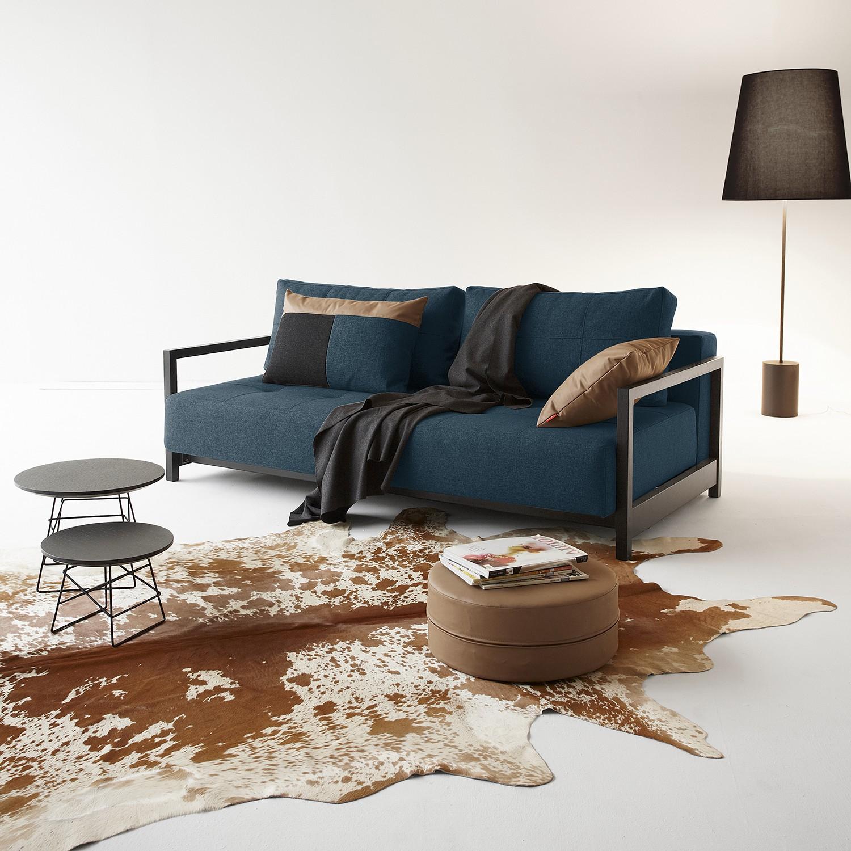 home24 Innovation Möbel Schlafsofa Bifrost Deluxe Dunkelblau Webstoff 210x70x162 cm mit Schlaffunktion