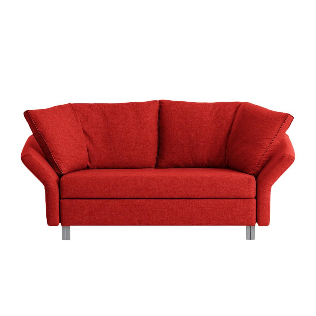 home24 chillout by Franz Fertig Schlafsofa Florenz 2-Sitzer Rot Webstoff 156x87x90 cm mit Schlaffunktion | Wohnzimmer > Sofas & Couches > Schlafsofas