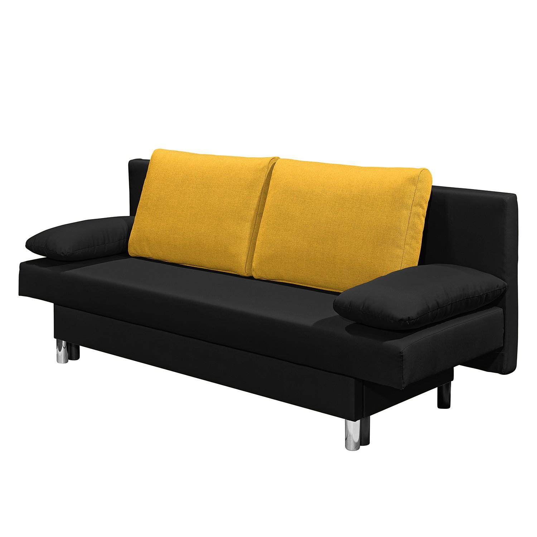 goedkoop Slaapbank Homely geweven stof Zwart geel Fredriks