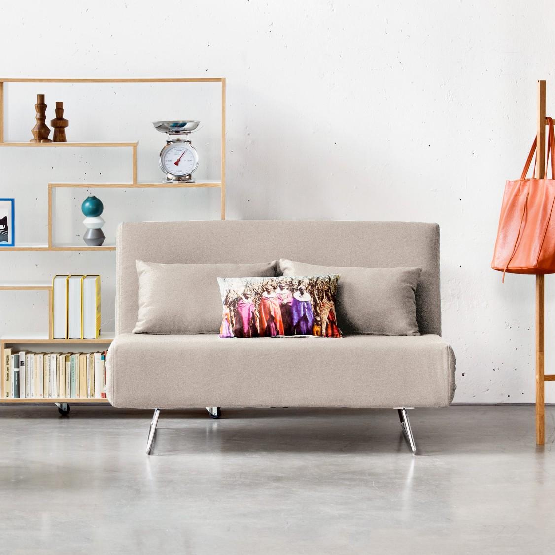 home24 Fredriks Schlafsofa Frizzo Beige-Grau Webstoff 136x82x87 cm mit Schlaffunktion