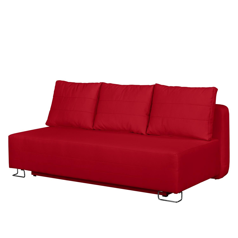 home24 Fredriks Schlafsofa La Vernia Rot Webstoff 196x75x98 cm mit Schlaffunktion und Bettkasten