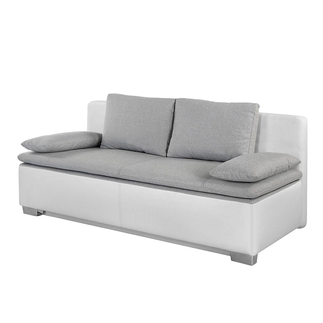 goedkoop Slaapbank Bocono kunstleer geweven stof Wit lichtgrijs Home Design