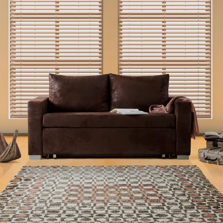 home24 mooved Schlafsofa Latina 2-Sitzer Dunkelbraun Microfaser 190x90x90 cm (BxHxT) mit Schlaffunktion/Bettkasten Industrial
