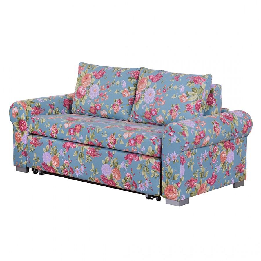 home24 mooved Schlafsofa Latina XI 2-Sitzer Blau Webstoff 185x90x90 cm mit Schlaffunktion und Bettkasten