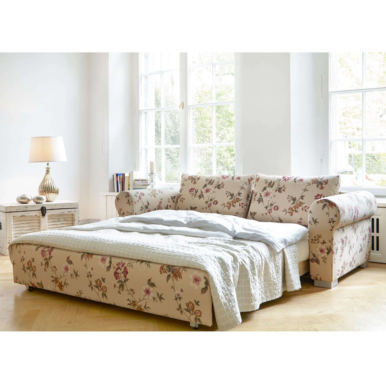 home24 mooved Schlafsofa Latina XVII 2-Sitzer Beige/Pink Webstoff 165x90x90 cm mit Schlaffunktion und Bettkasten