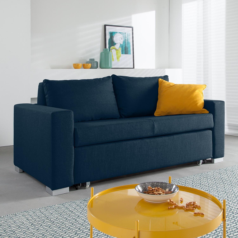 home24 mooved Schlafsofa Latina 2-Sitzer Blau Webstoff 190x90x90 cm (BxHxT) mit Schlaffunktion/Bettkasten Modern