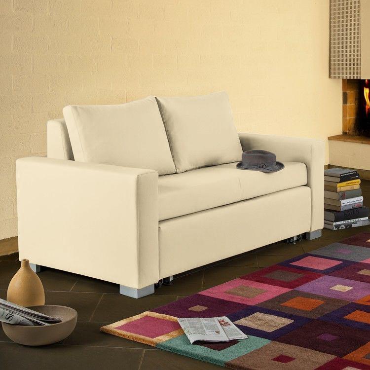 home24 mooved Schlafsofa Latina XIV Beige Kunstleder 150x90x90 cm (BxHxT) mit Schlaffunktion/Bettkasten Modern