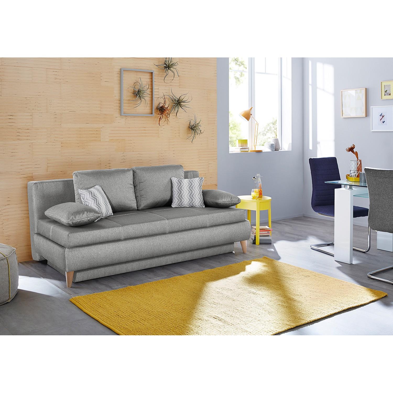 home24 Mørteens Schlafsofa Limba Grau Webstoff 205x88x110 cm mit Schlaffunktion und Bettkasten