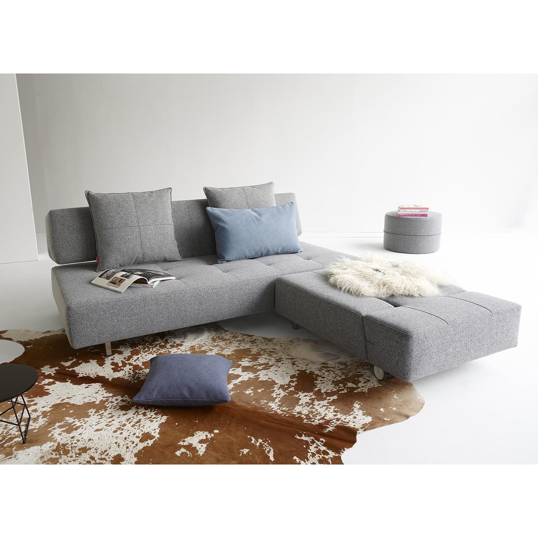 home24 Innovation Möbel Schlafsofa Long Horn II Granit Webstoff 210x79x113 cm mit Schlaffunktion