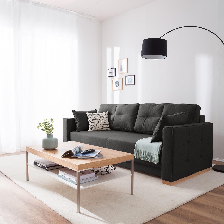home24 roomscape Schlafsofa Realico Anthrazit Webstoff 225x89x97 cm mit Schlaffunktion und Bettkasten