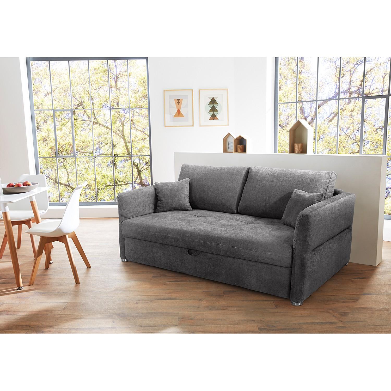 home24 Home Design Schlafsofa Billimora Grau Microfaser 228x90x102 cm mit Schlaffunktion