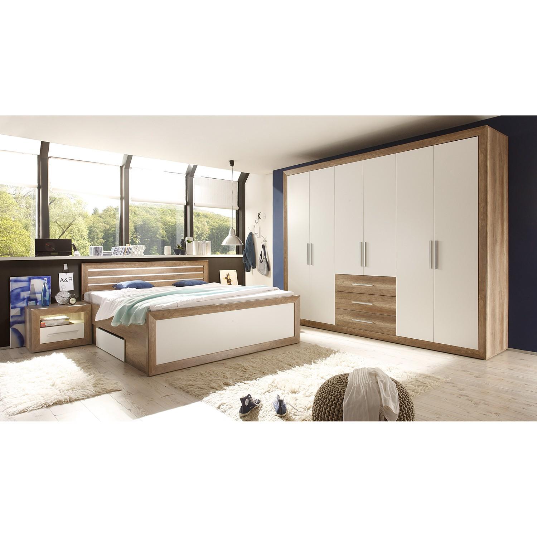 Ensemble de chambre à coucher Rachid (4 éléments) - Imitation chêne canyon / Blanc, loftscape