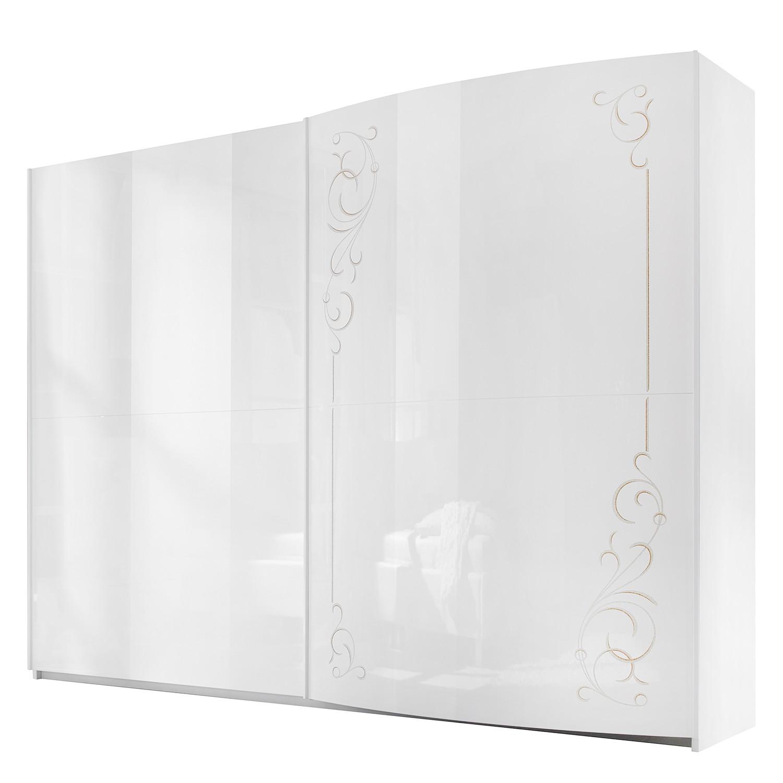 goedkoop Zweefdeurkast Sibilla hoogglans wit 280cm 2 deurs Lc Mobili
