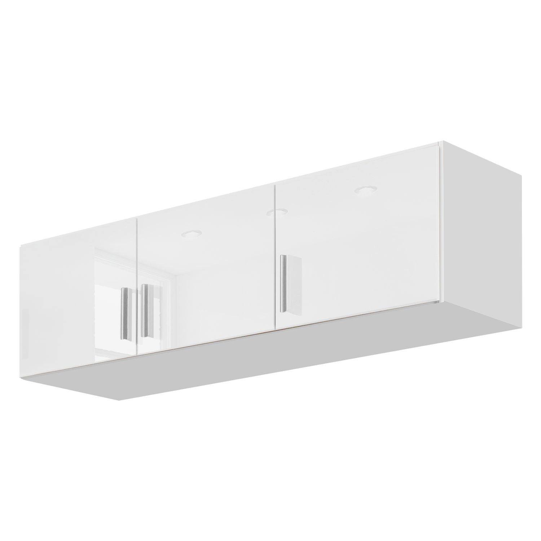 goedkoop Kast opzetstuk Celle Alpinewit hoogglans wit 136cm 3 deurs Rauch Packs