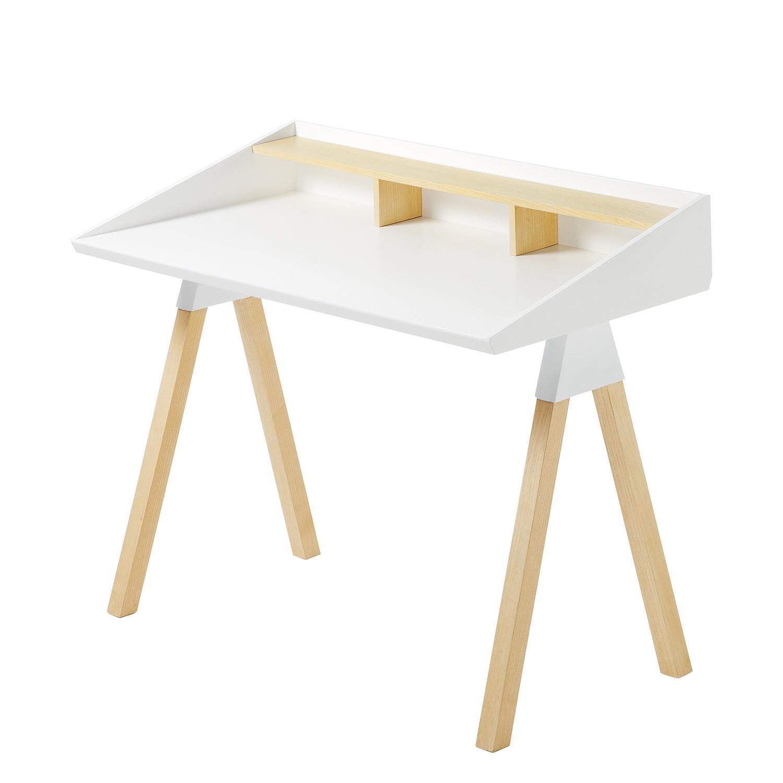 Schreibtisch Limatola - Pappel teilmassiv - Weiß / Pappel, Morteens