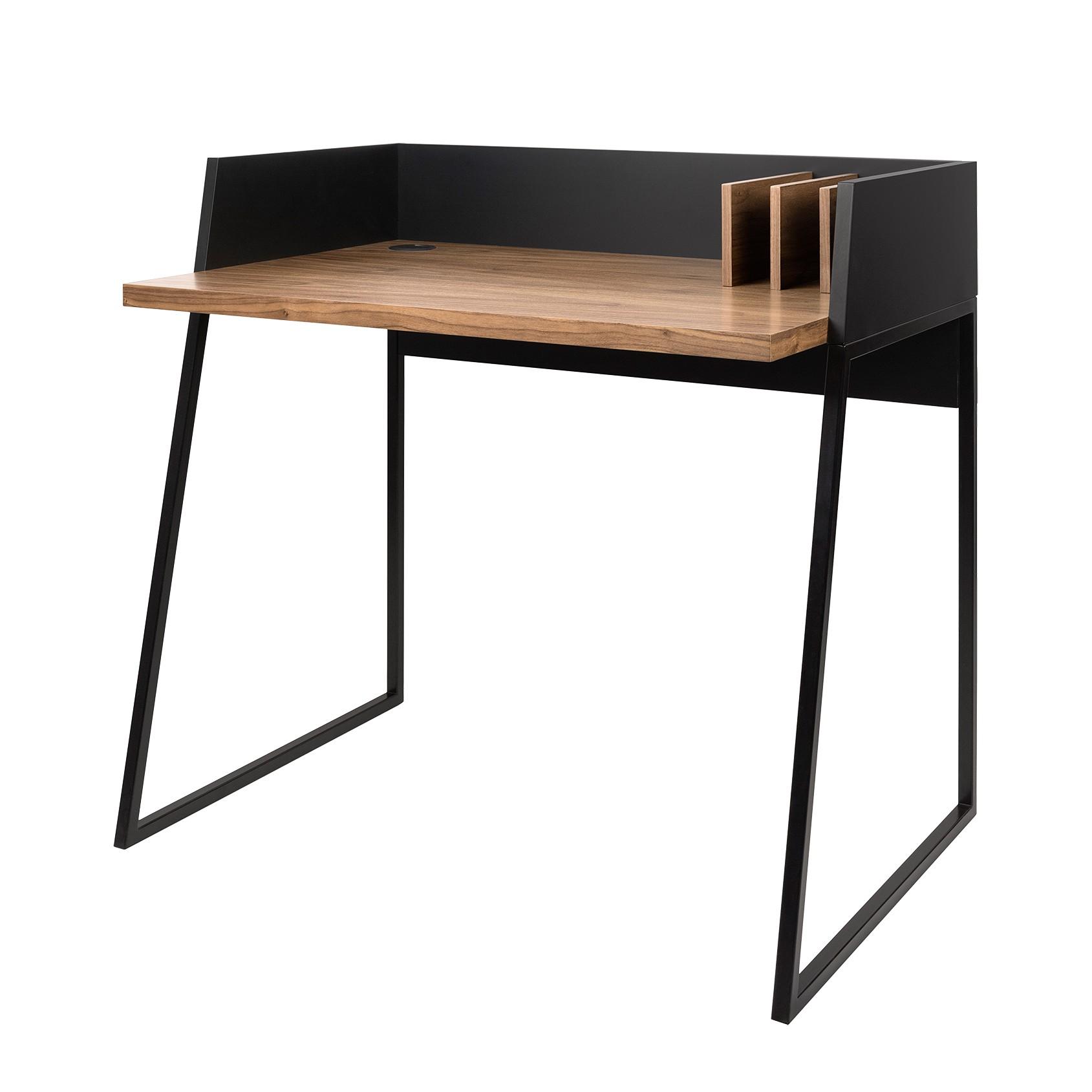 Schreibtisch Volga   Walnuss / Schwarz, Loftscape
