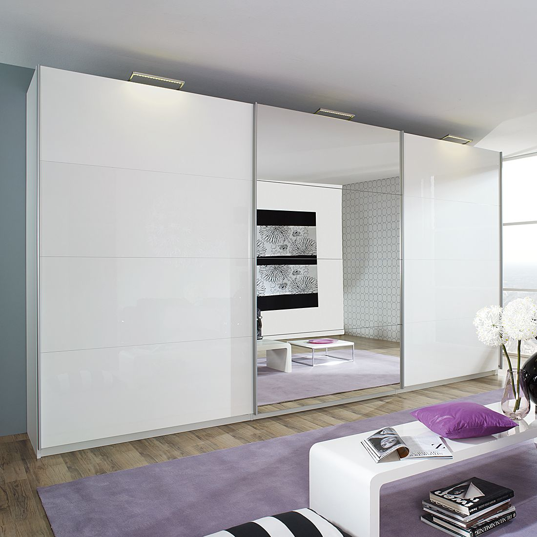 Schrank weiß hochglanz mit spiegel  Jetzt bei Home24: Kleiderschrank von Rauch Select | home24