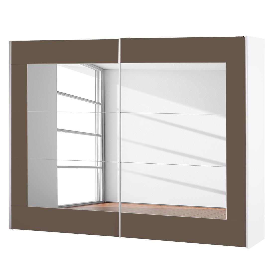 goedkoop Schuifdeurkast Alegro Alpinewit lavakleurig glas 271cm 2 deurs Rauch