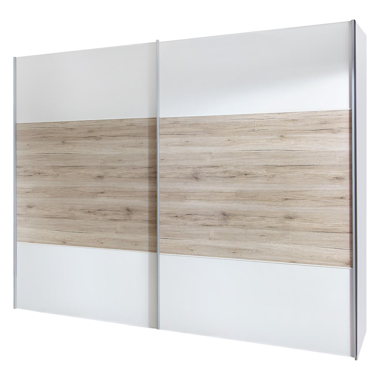 Armoire à portes coulissantes Arizona Sleep - Blanc alpin / Imitation chêne du Santana - 200 cm (2 portes) - Sans cadre passepartout, Wiemann