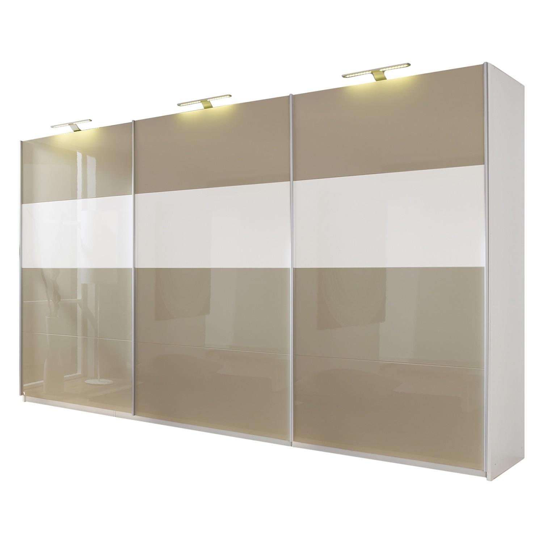 goedkoop Schuifdeurkast Beluga hoogglans zandgrijs wit alpinewit 360cm 3 deurs 223cm Rauch Select