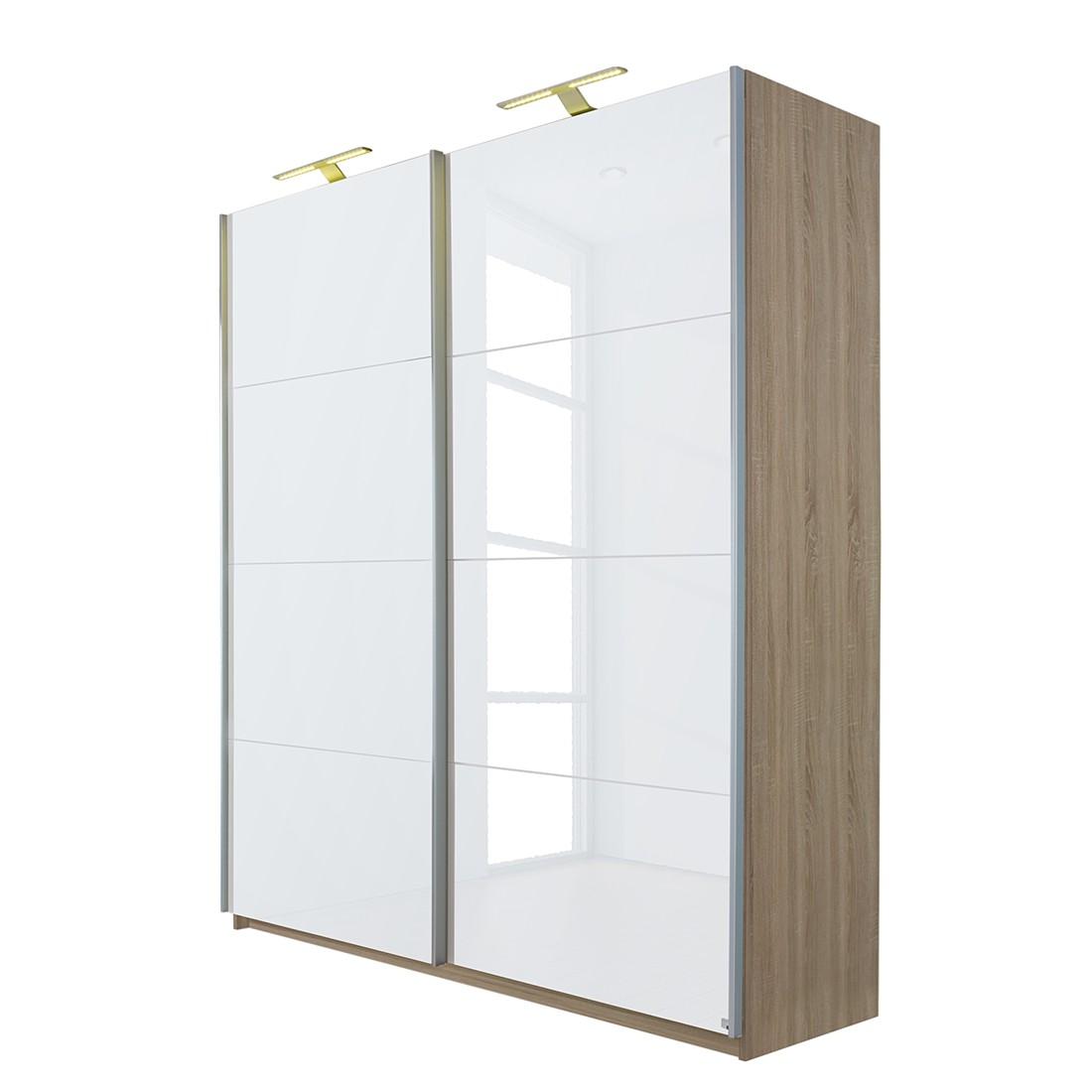 goedkoop Schuifdeurkast Beluga hoogglans wit Sonoma eikenhouten look 136cm 2 deurs 223cm Rauch Select