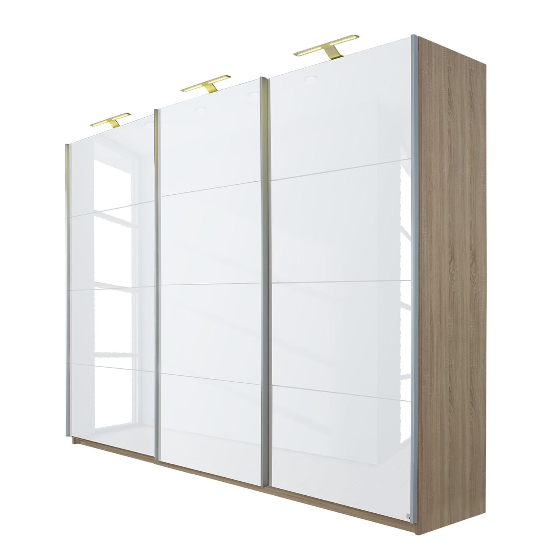 goedkoop Schuifdeurkast Beluga hoogglans wit Sonoma eikenhouten look 315cm 3 deurs 223cm Rauch Select