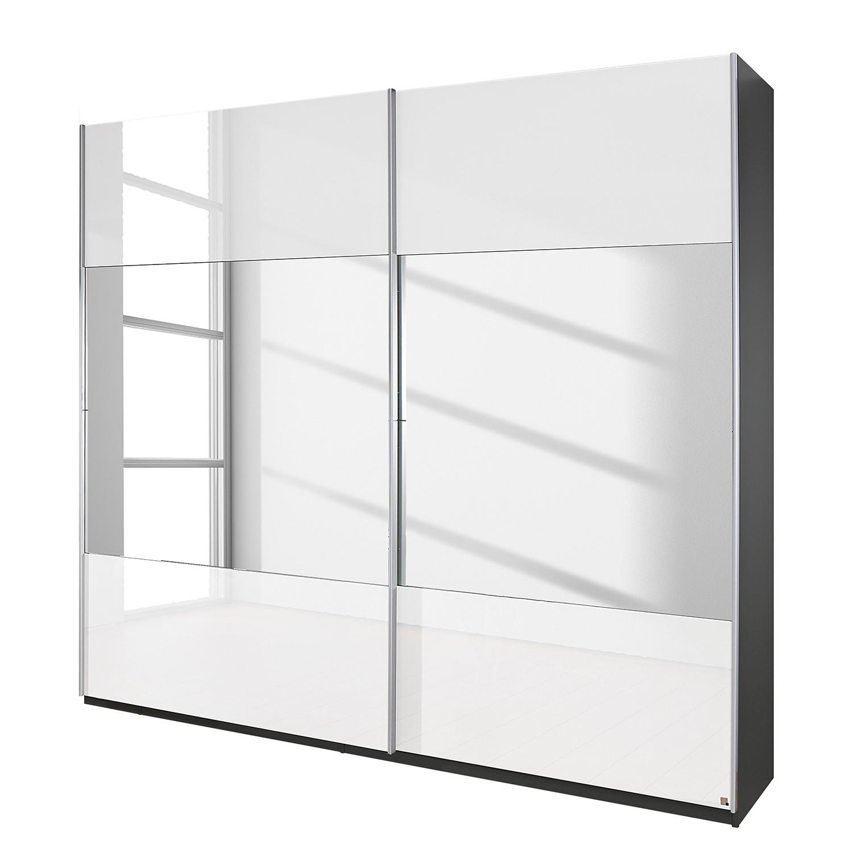 goedkoop Schuifdeurkast Beluga hoogglans wit verspiegeld grafietkleurig 136cm 2 deurs 236cm Rauch Select