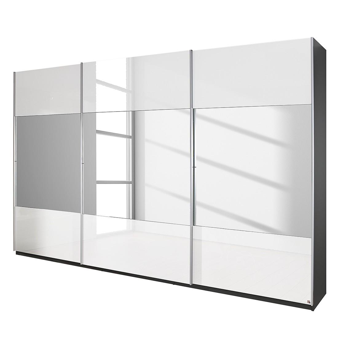 goedkoop Schuifdeurkast Beluga hoogglans wit verspiegeld grafietkleurig 360cm 3 deurs 223cm Rauch Select