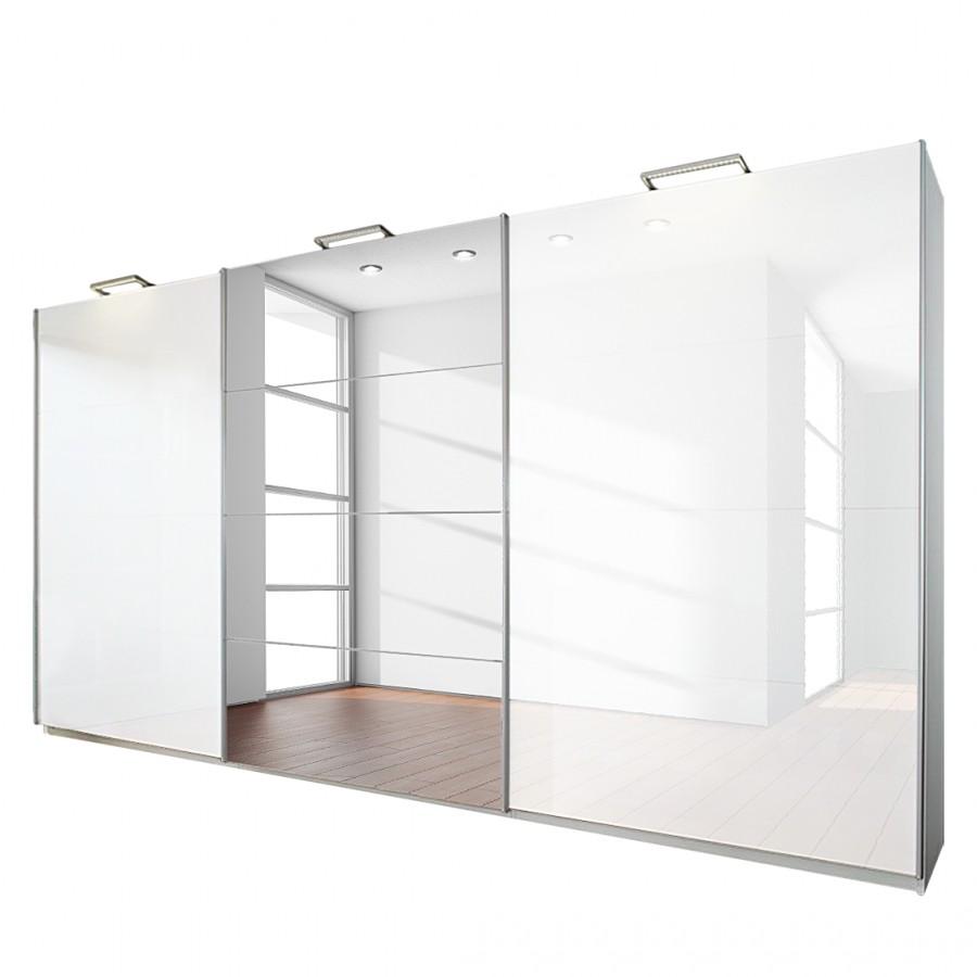 goedkoop 3 deurs schuifdeurkast Beluga Plus alpinewit hoogglans wit met spiegel 360cm 3 deurs 223cm Rauch Select