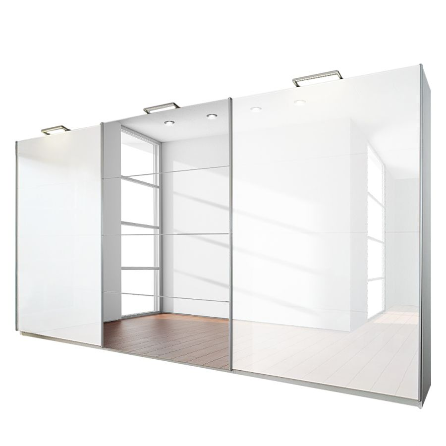 goedkoop 3 deurs schuifdeurkast Beluga Plus alpinewit hoogglans wit met spiegel 405cm 3 deurs 223cm Rauch Select