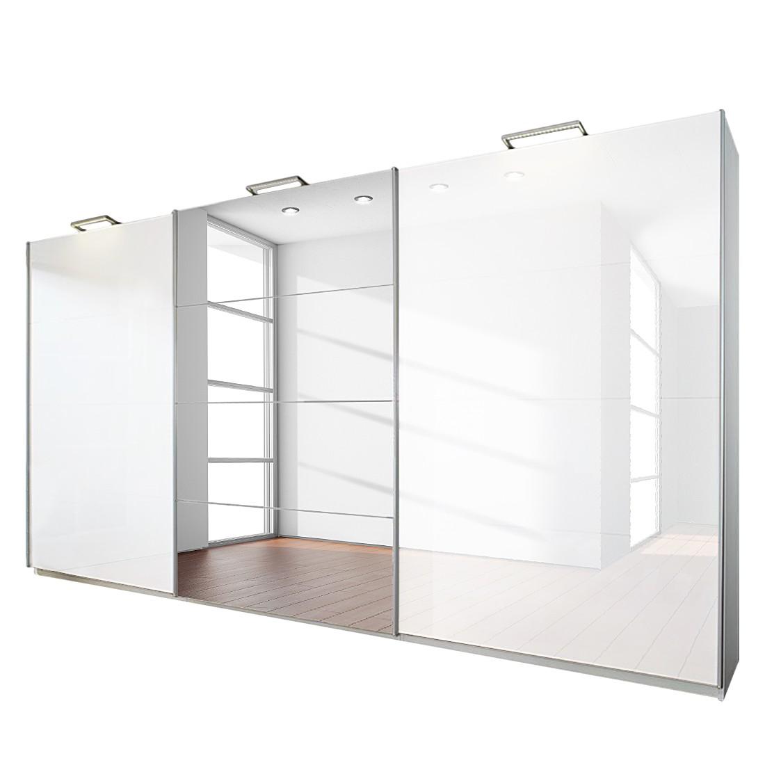 goedkoop 3 deurs schuifdeurkast Beluga Plus alpinewit hoogglans wit met spiegel 315cm 3 deurs 236cm Rauch Select