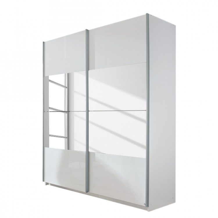 aa1619 Zweefdeurkast Open Space alpinewit hoogglans wit spiegel 270cm 2 deurs 236cm Rauch Select