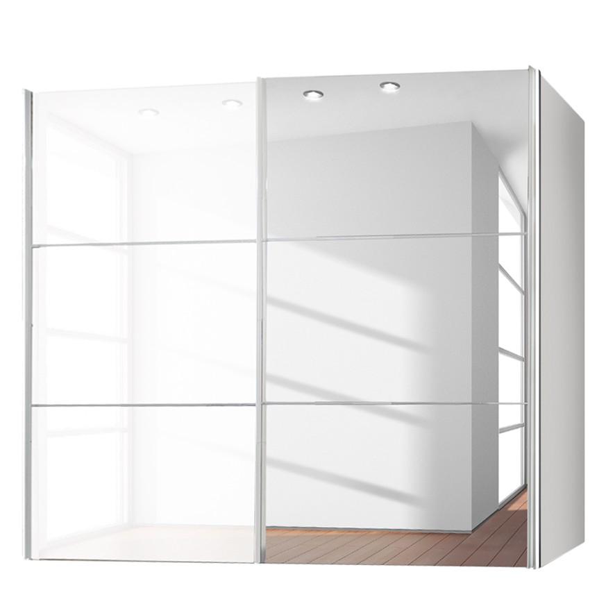goedkoop Zweefdeurkast Bianca Hoogglans wit spiegelglas 250cm 2 deurs Express Mobel